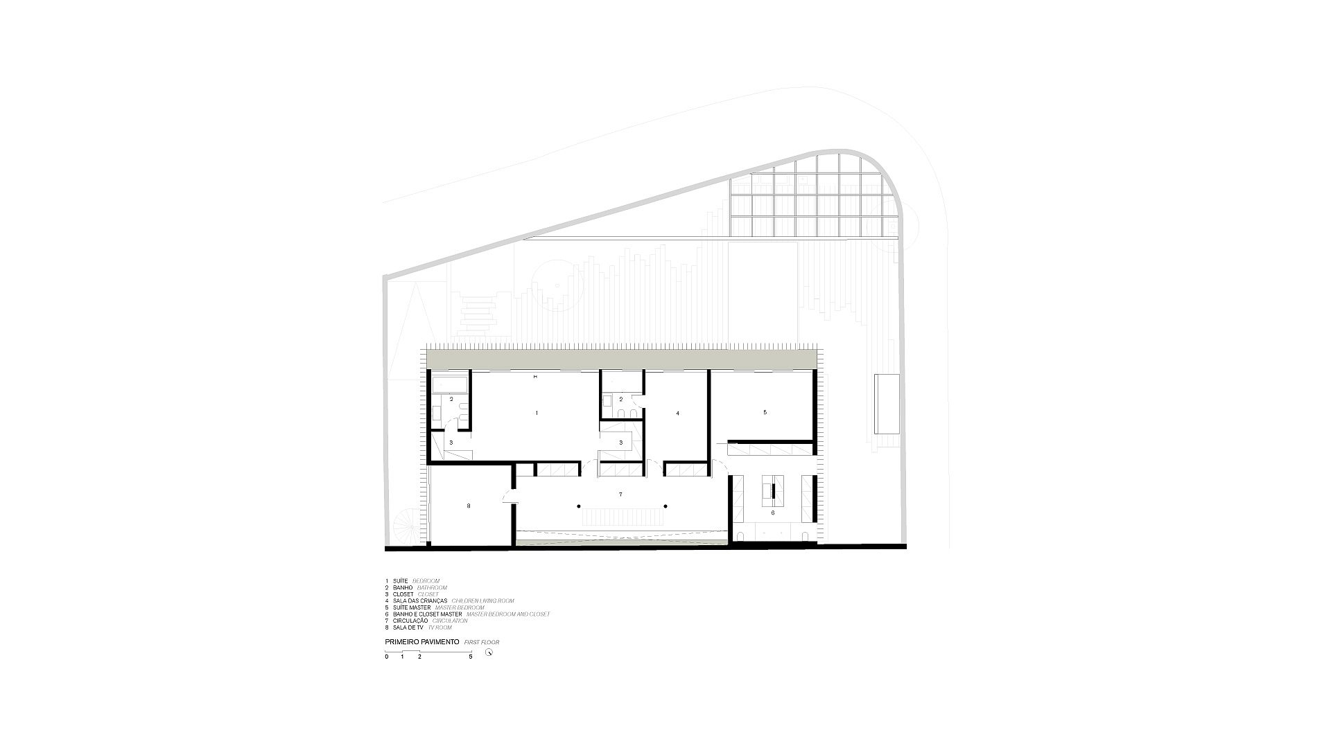 Upper level floor plan of the contemporary home