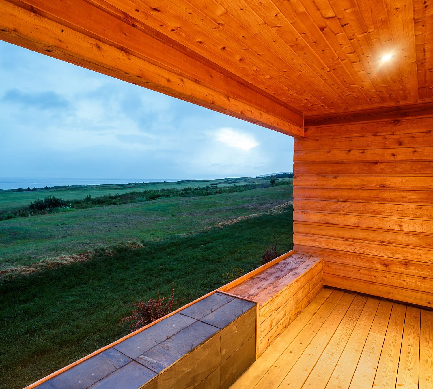 View of the lovely landscape and golf course from the stylish cabins