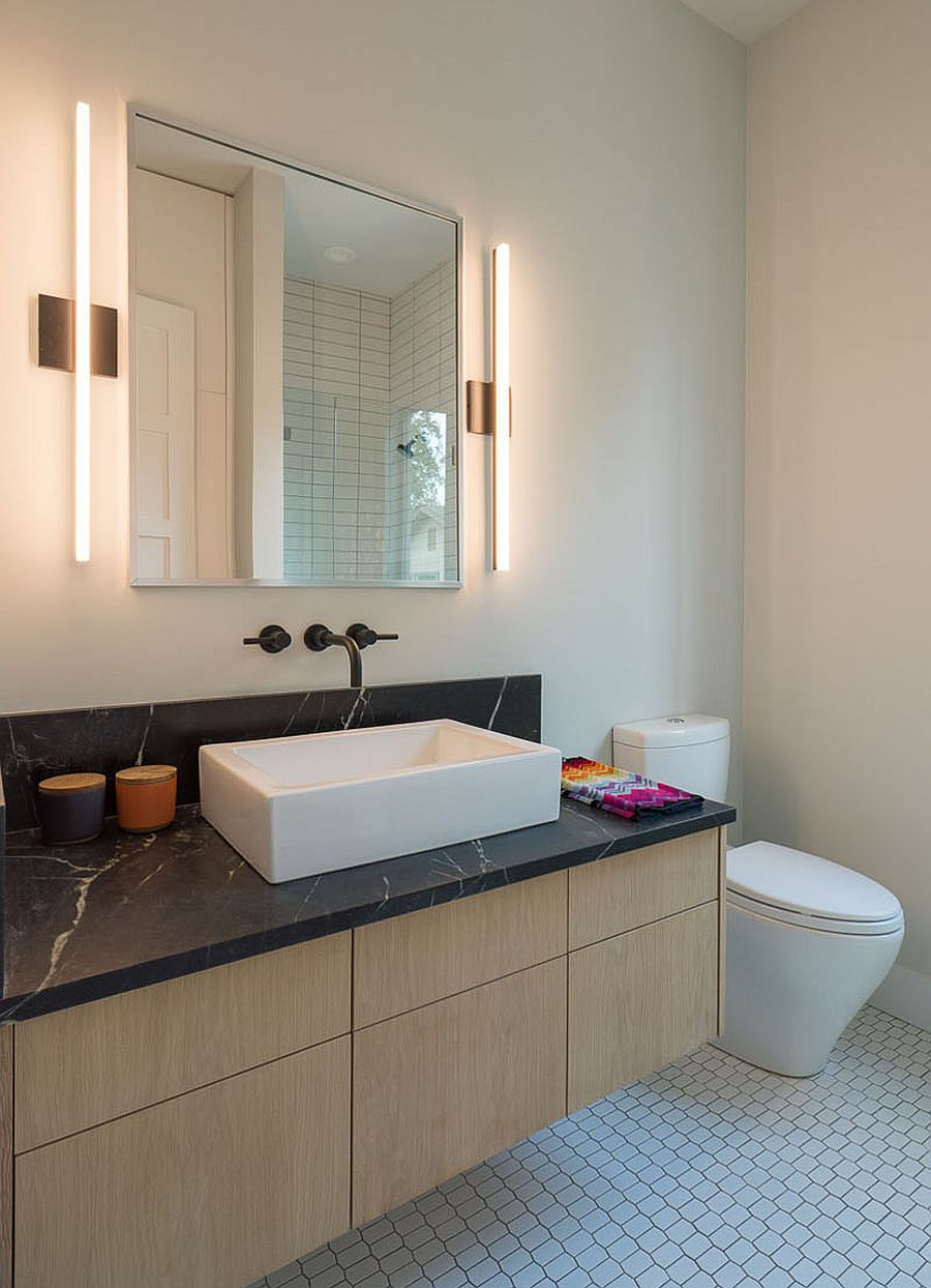 Wooden vanity with marble countertop for the modern bathroom
