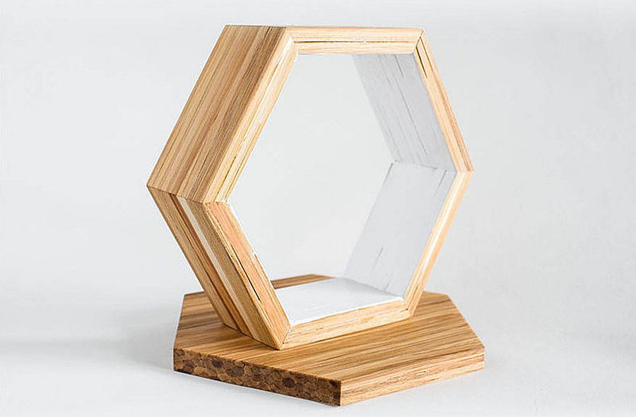 A closer look at the hexagonal shelves made from chopsticks