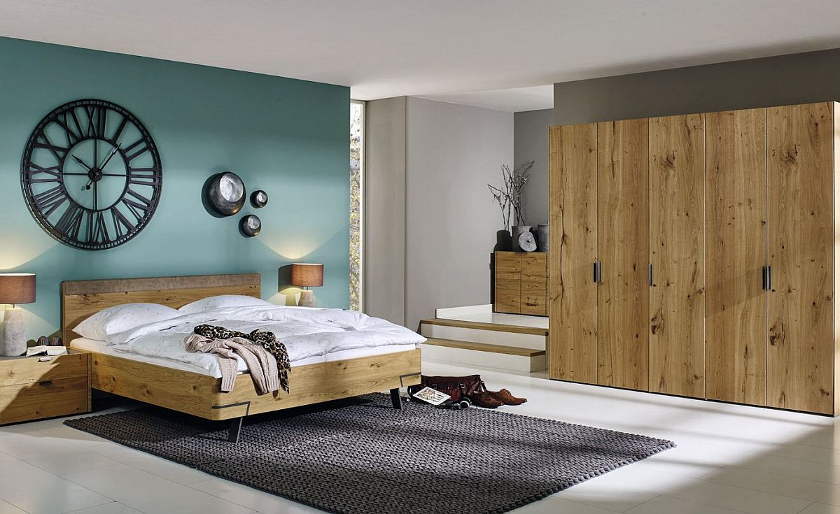 Bed-nightstand-console-and-wardrobe-in-oak-create-a-relaxing-and-modern-bedroom
