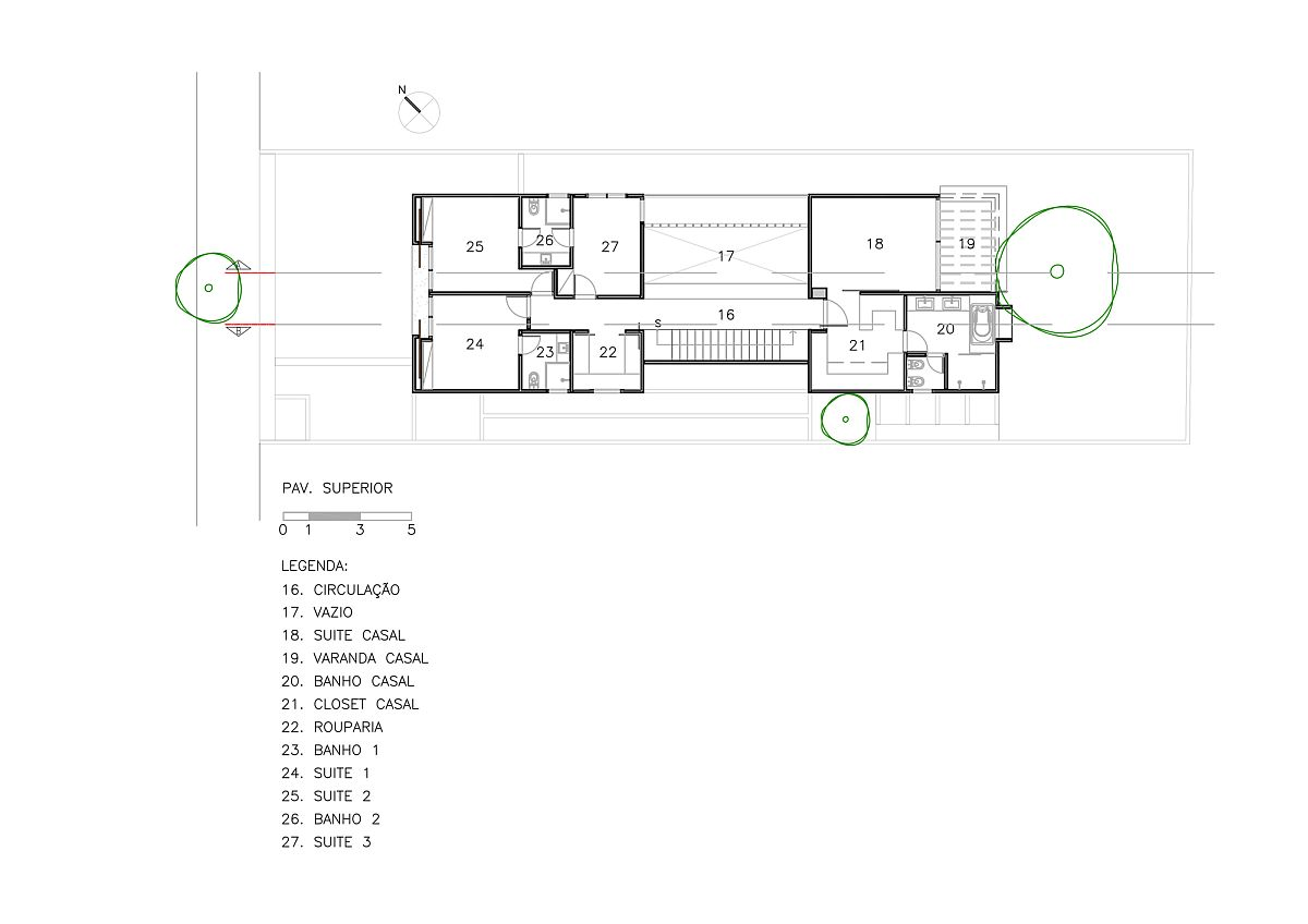 Bedroom level floor plan of Vila Nova Residence