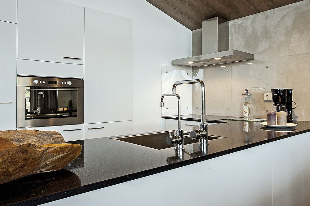 Black kitchen countertops for the kitchen in white