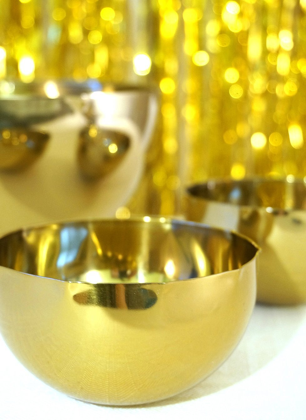 Brassy bowls add holiday cheer
