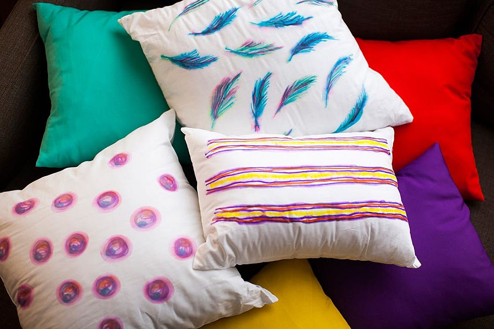 Colorful Watercolor-Inspired Throw Pillows