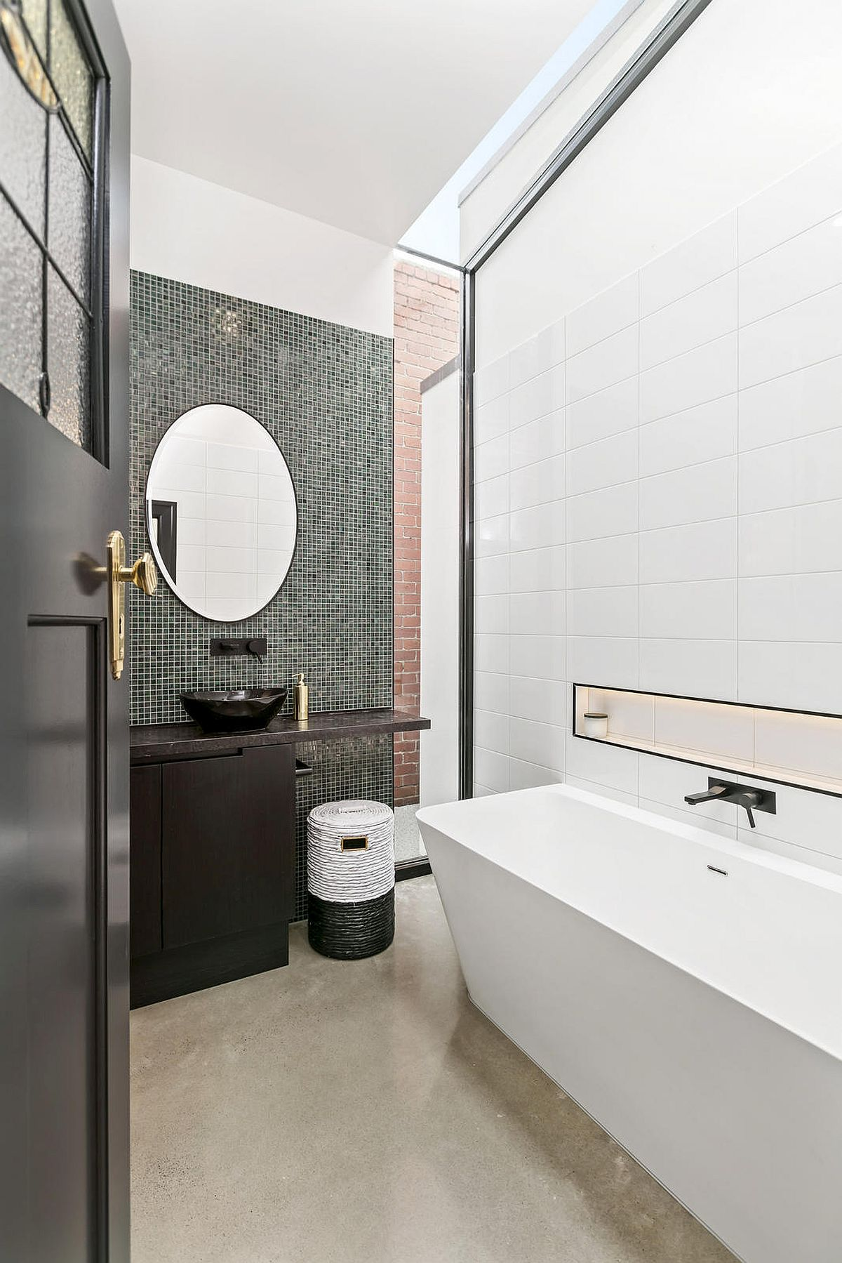 Contemporary-bathroom-in-white-with-a-dark-accent-wall-and-a-dash-of-red