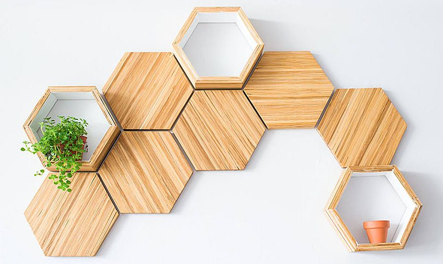 Contemporary honeycomb wood shelves crafted from recycled chopsticks