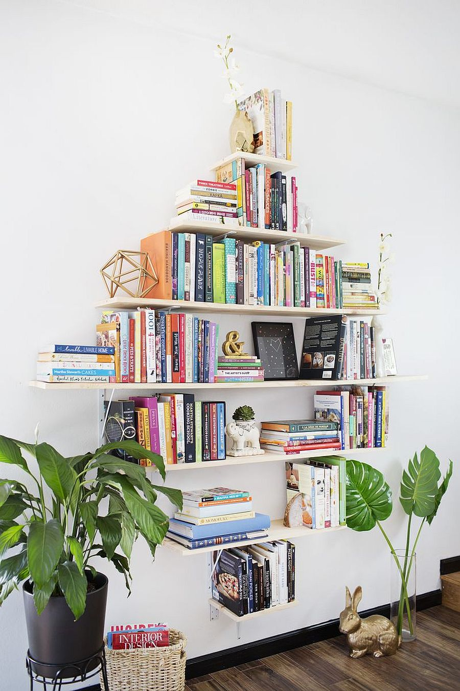 Create your own wall of books with the Diamond Shaped Shelving