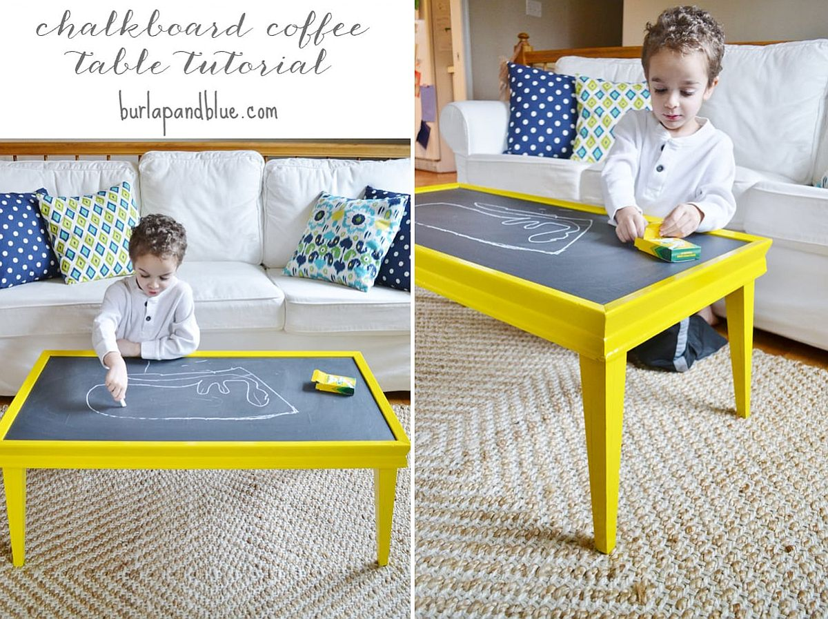 DIY Chalkboard coffee table for an interactive living room!