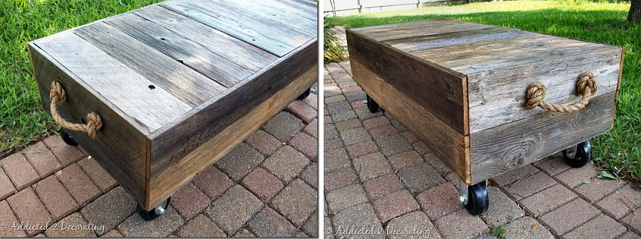 DIY Factory Cart-Style Coffee Table made for less than $100