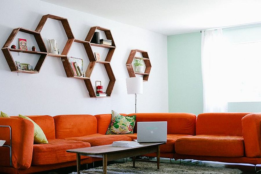 DIY Honeycomb Shelves are perfect for a stylish living room makeover