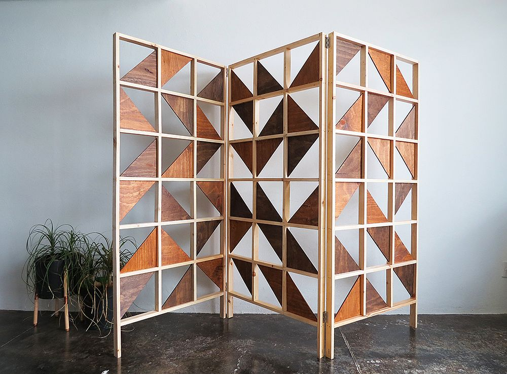 DIY geometric room divider