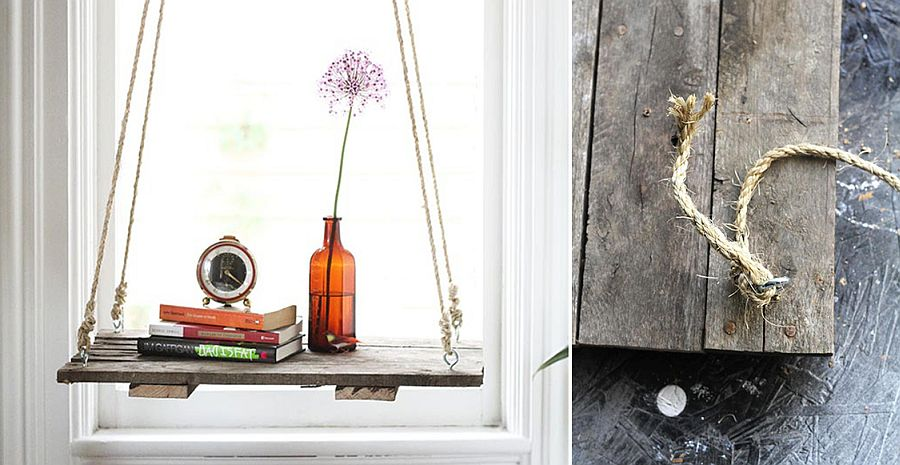 DIY hanging shelf and side table for Boho Chic interior