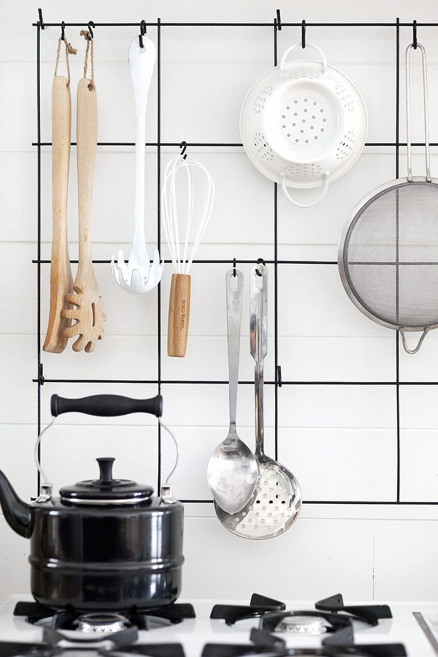 DIY wire utensil rack idea for the small kitchen