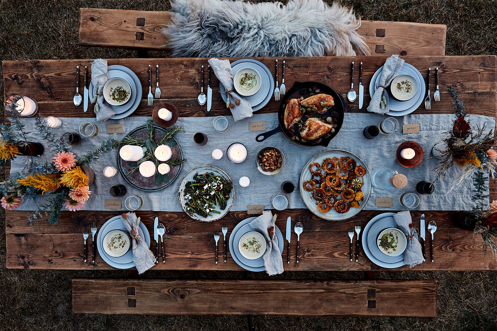 Decadent outdoor fall meal