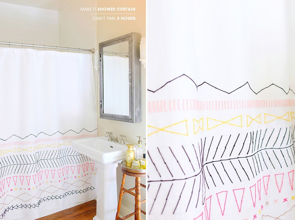 Elegant DIY shower curtain with geo pattern