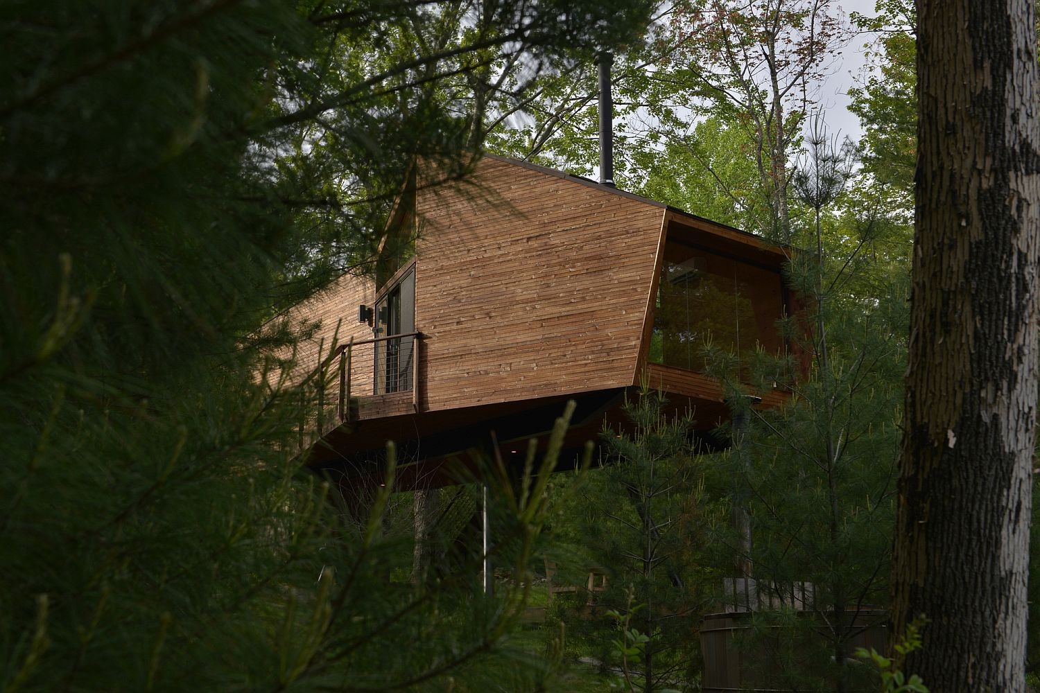 Elevated level of the cabin offers lovely views of the lush green scenery and beyond