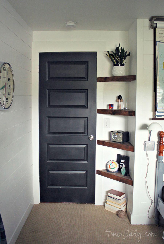 Ergonomic, triangular DIY corner shelves fit in pretty much anywhere