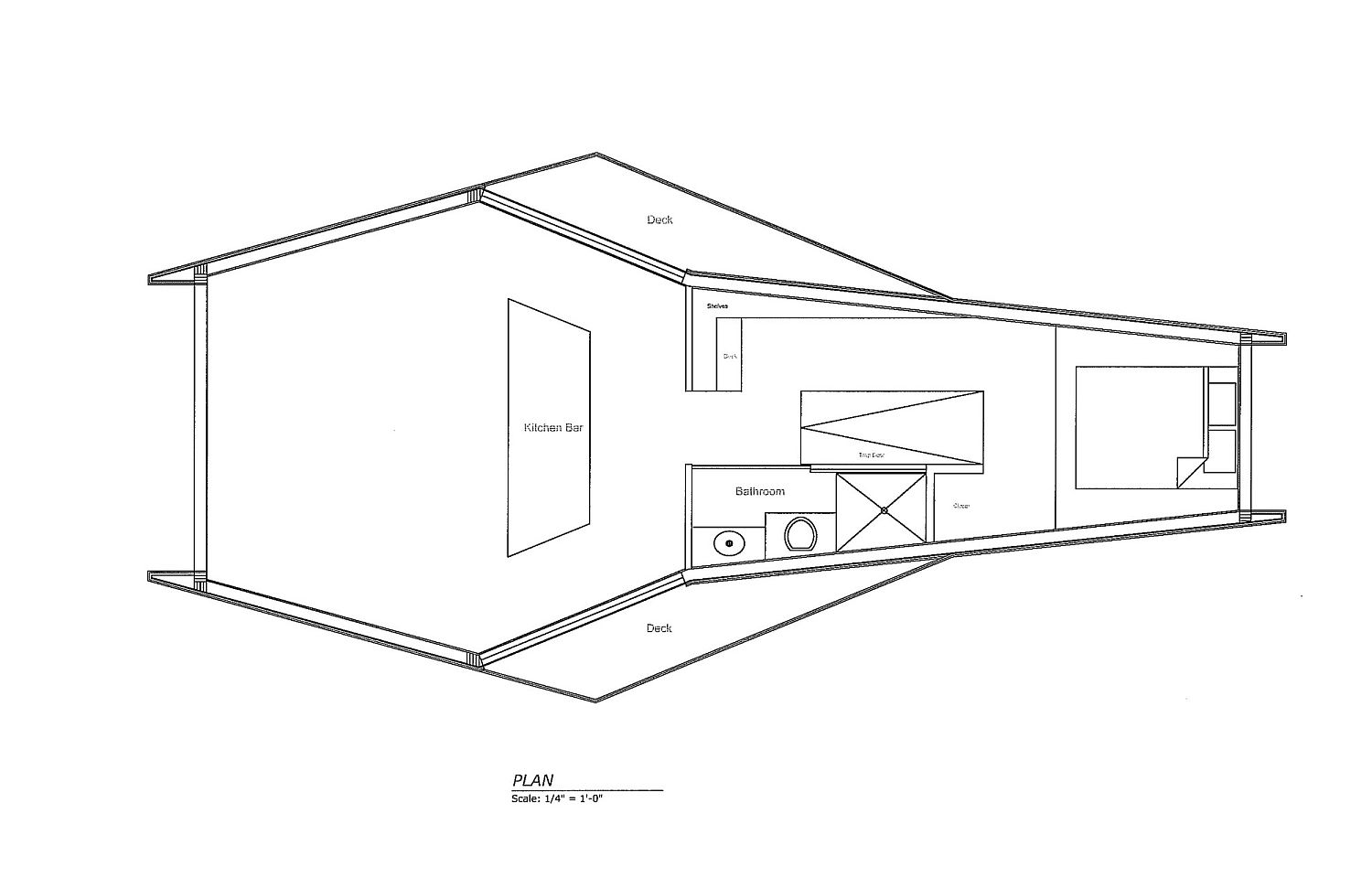 Floor plan of Inhabit treehouse with views of Catskills mountain range