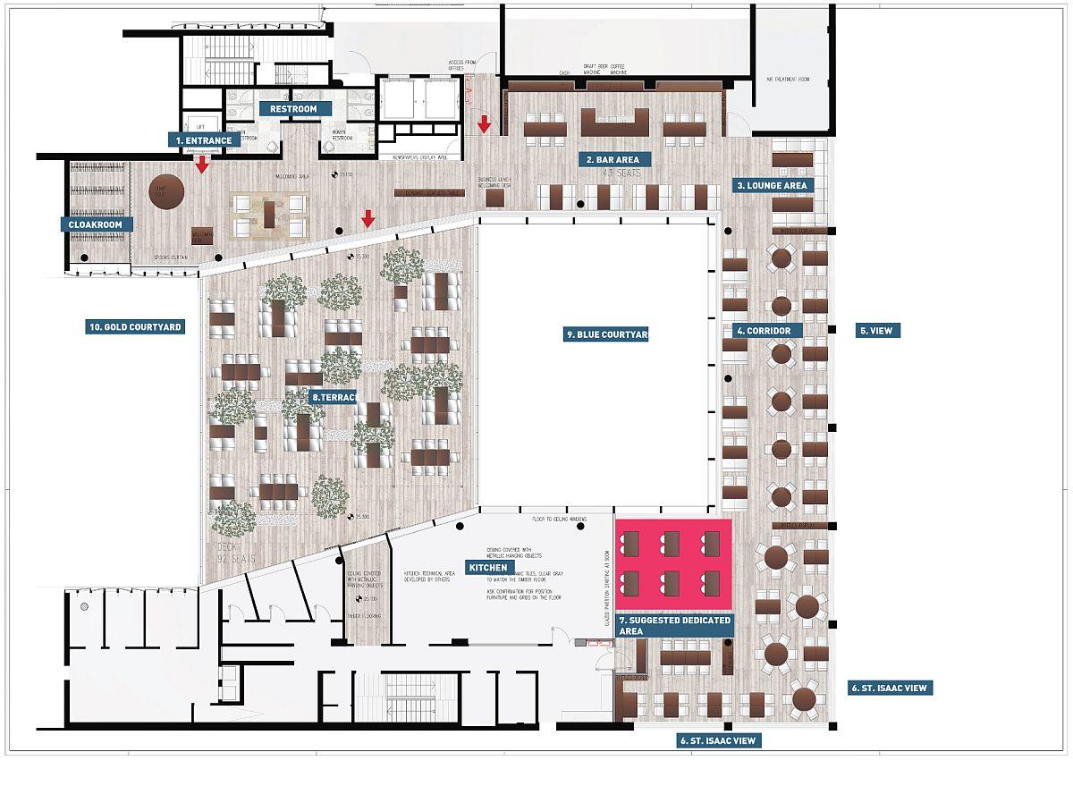 Floor plan of Mansarda Restaurant in St. Petersburg