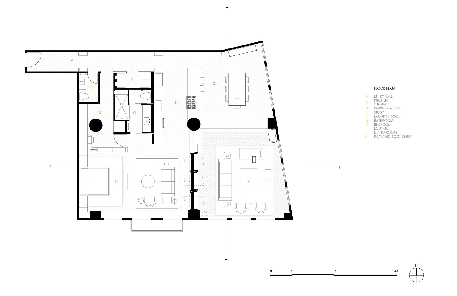 Floor plan of renovated Arts District Loft in Los Angeles