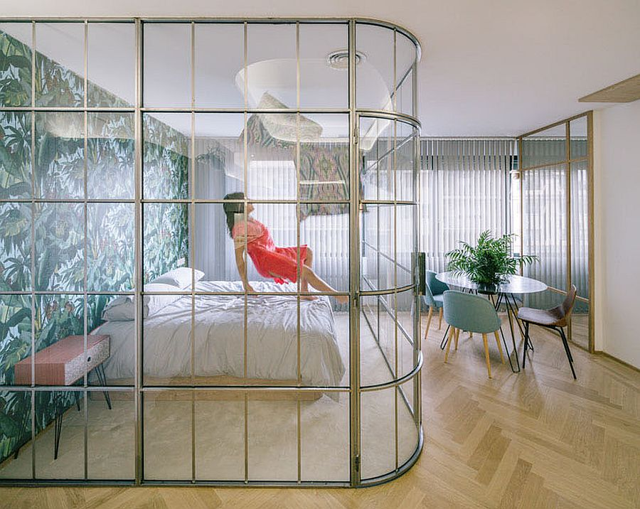 Gorgeous curved glass walls for the contemporary bedroom inside small apartment