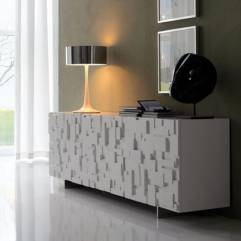 Labyrinth sideboard in white with textured finish