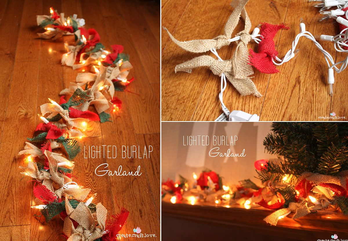 Lighted burlap garland DIY to welcome the Holiday Season early!