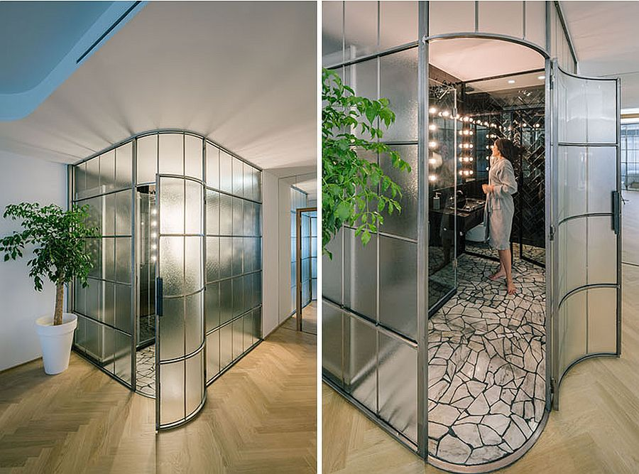 Look at the glass-walled bathroom inside the Madrid apartment