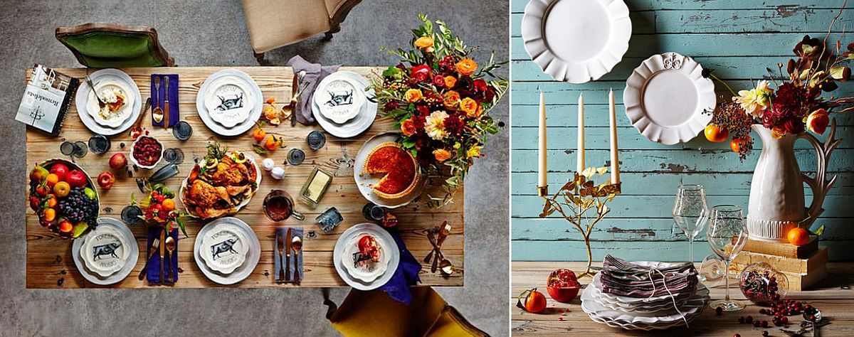 Modern rustic Thanksgiving table idea