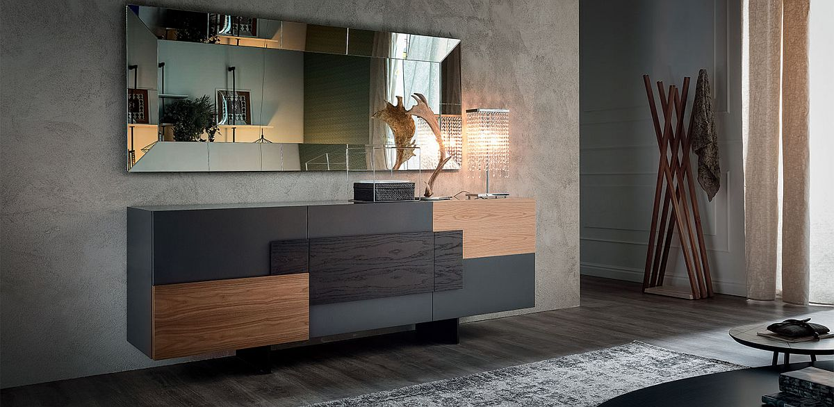 Modern sophistication coupled with wooden inserts for the sideboard