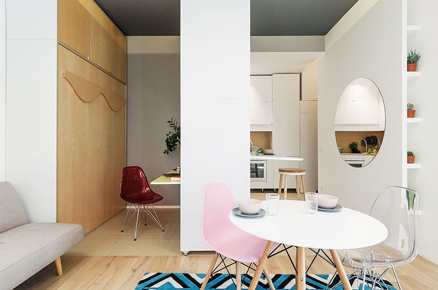 Movable wall inside the apartment with folding desks offers multiple design possibilties 2