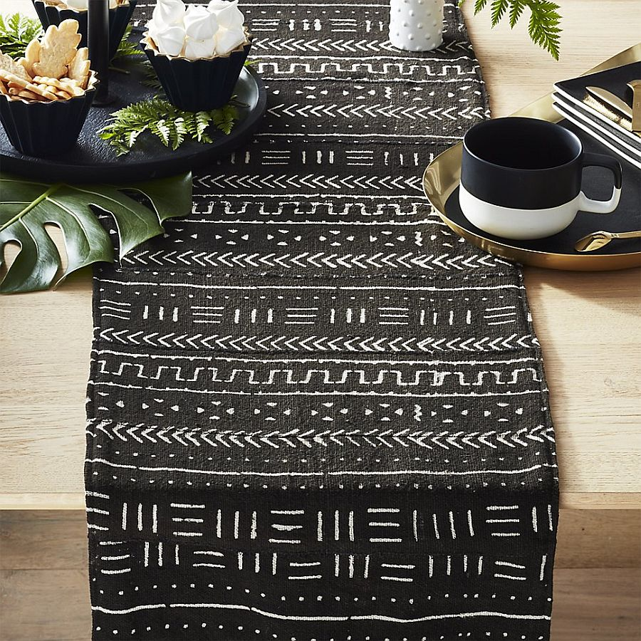 Mudcloth African table runner brings handpainted African charm to the Thanksgiving table