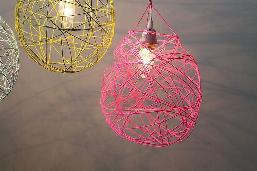 Multi-colored DIY Yarn Lanterns