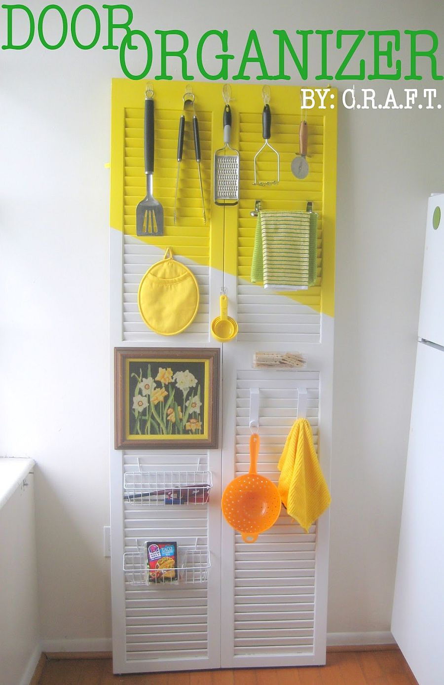 Old-door-turned-into-a-kitchen-organization-zone-with-paint