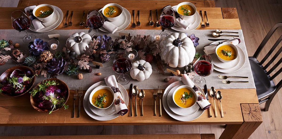 Pumpkin serving bowls steal the show on this Thanksgiving table