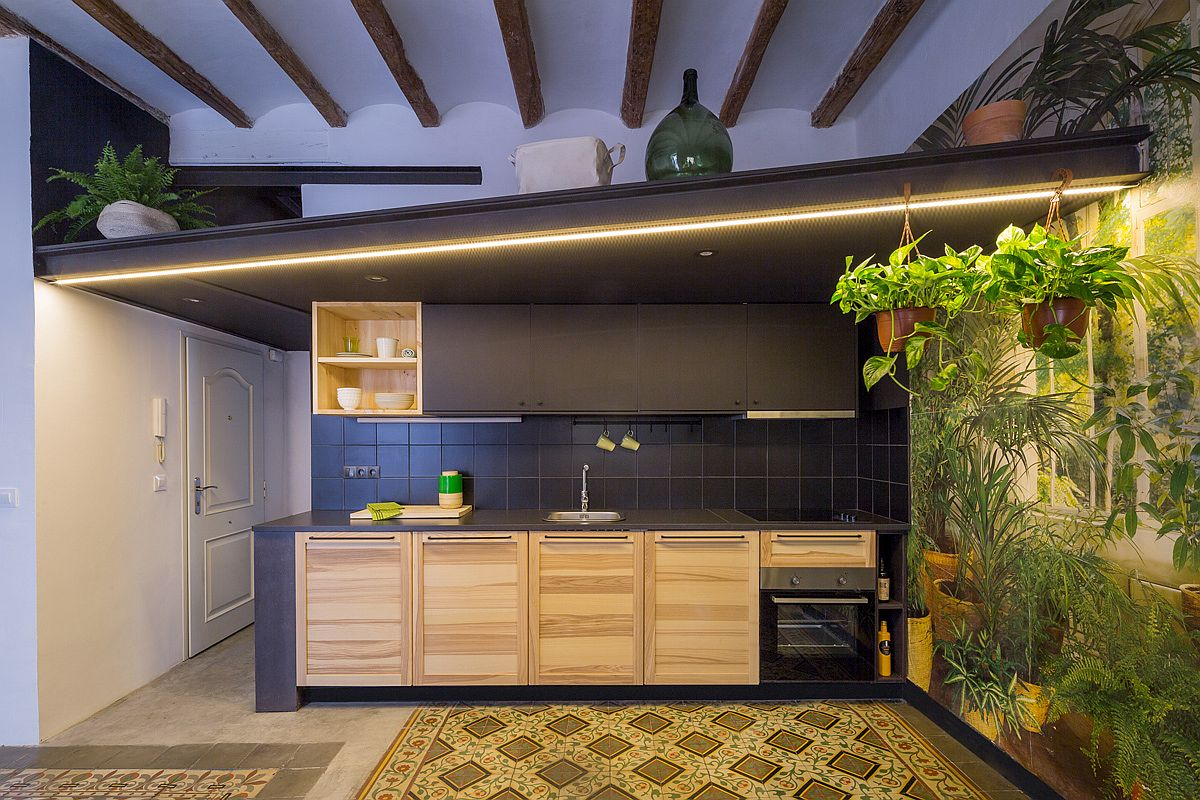 Revamped dark kitchen with plenty of lighting and tropical scenery next to it