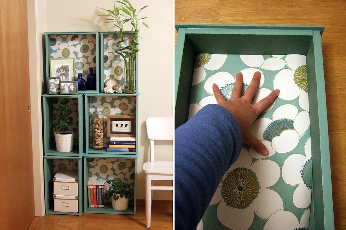 Salvaged old drawers turned into smart bookshelves