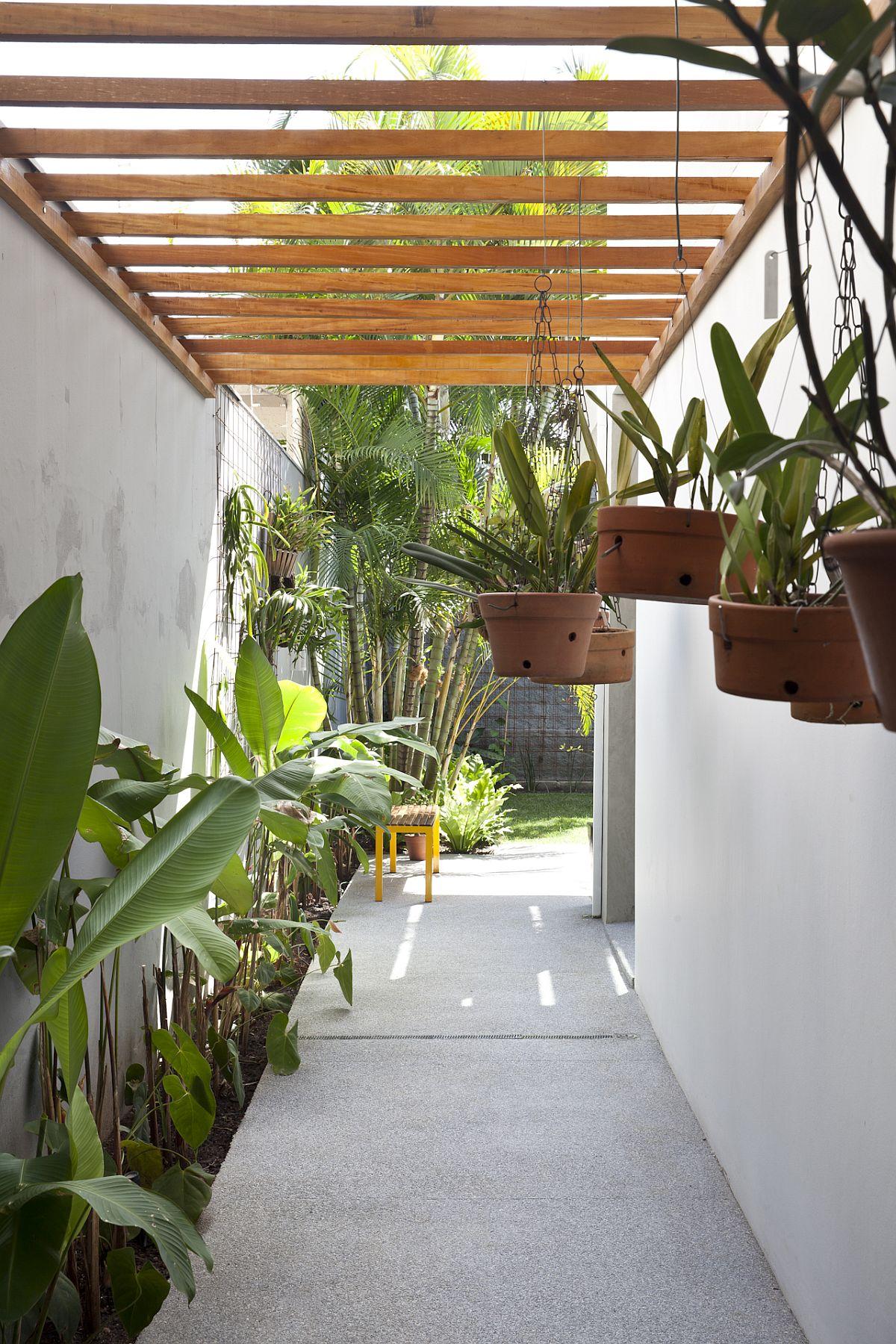Shaded walkway with greenery around it