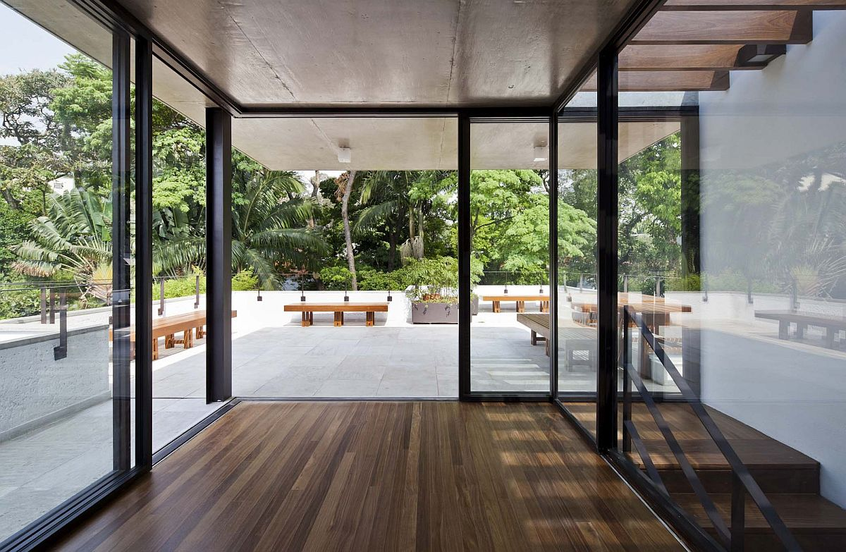 Sliding glass doors on the top level with deck outside