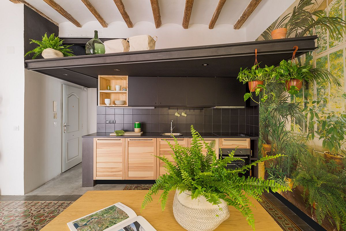 Smart structure above the kitchen offers ample storage space