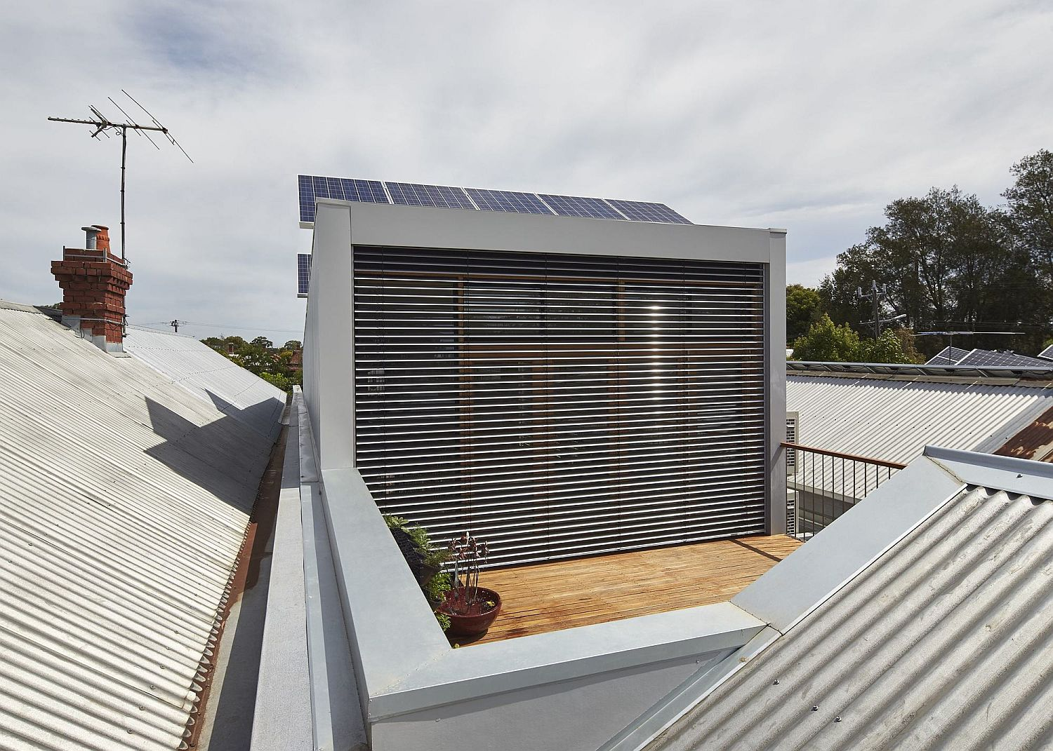 Solar panels on the home brings sustainable energy to the house