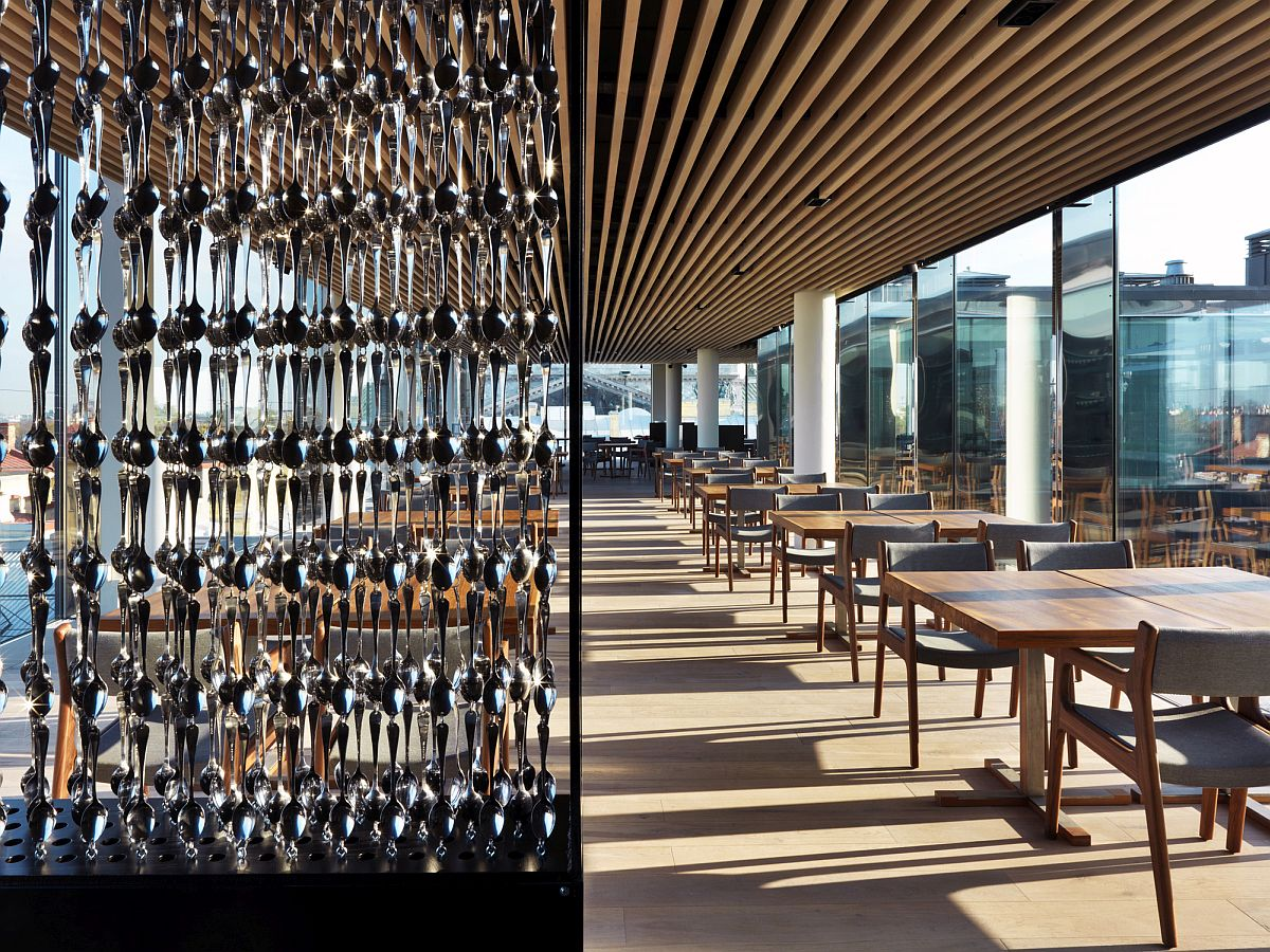 Spoons-used-to-create-a-decorative-divider-inside-the-restaurant