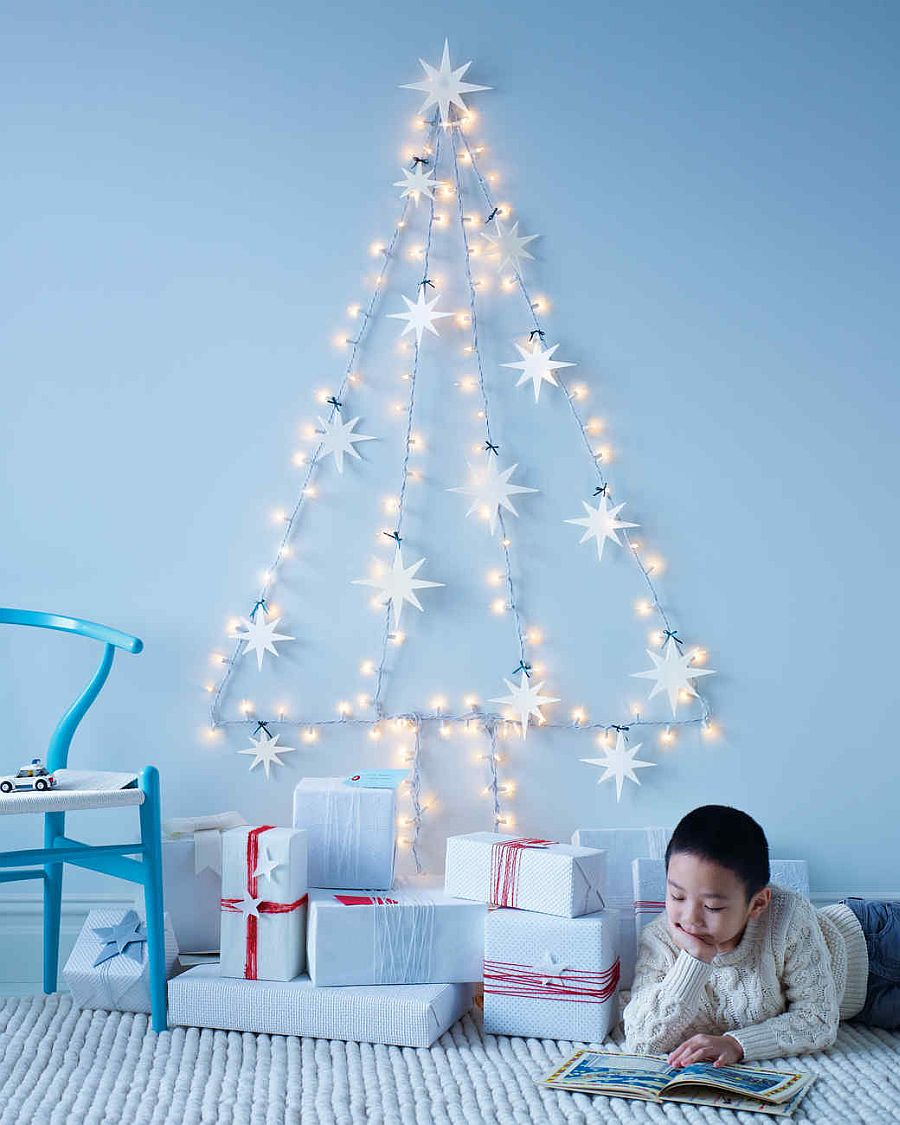15 Non Traditional Christmas Tree Ideas: A Season For Stirring Radiance: 15 DIY String Light Crafts