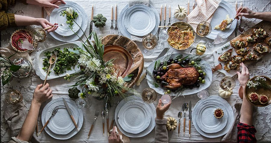 Thanksgiving table set using finds from Anthropologie
