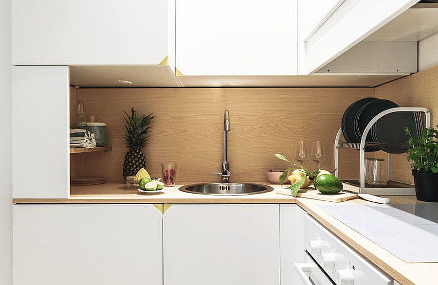 Tiny kitchen idea in white for the modern micro apartment