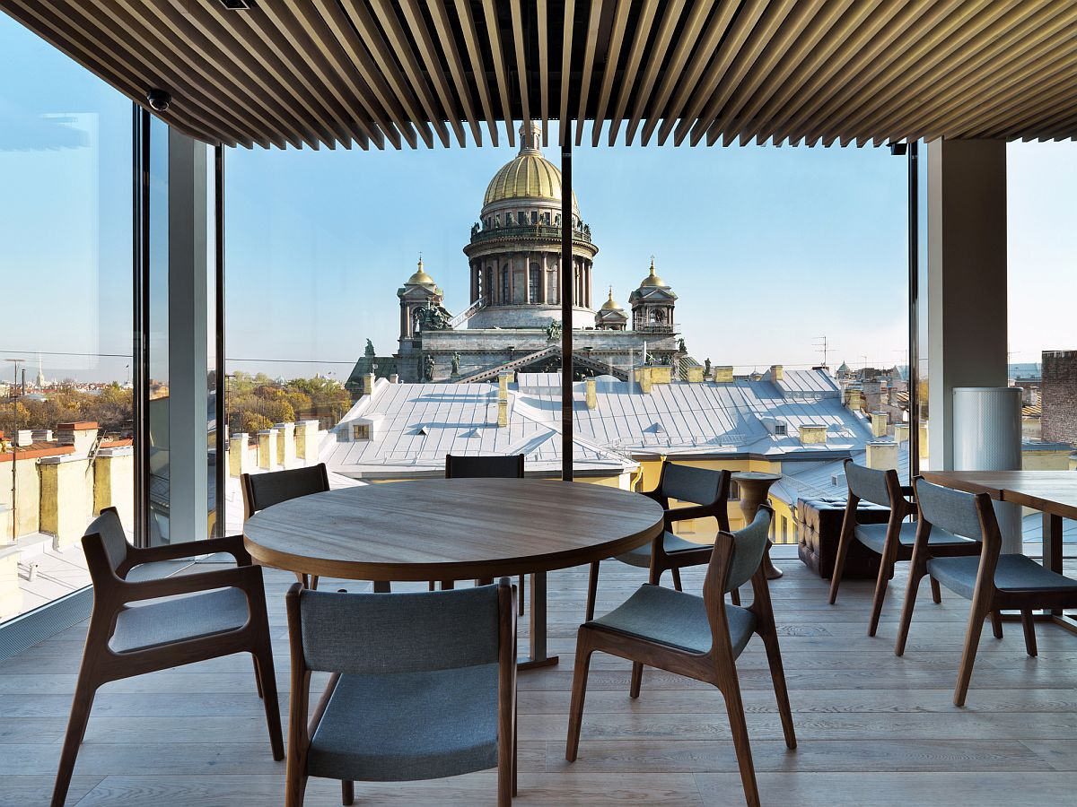 View of St. Isaac's Cathedral from the restaurant