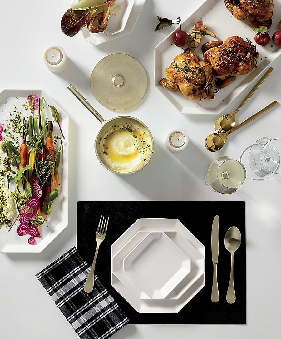 White serving set for the fall dining table is both modern and timeless