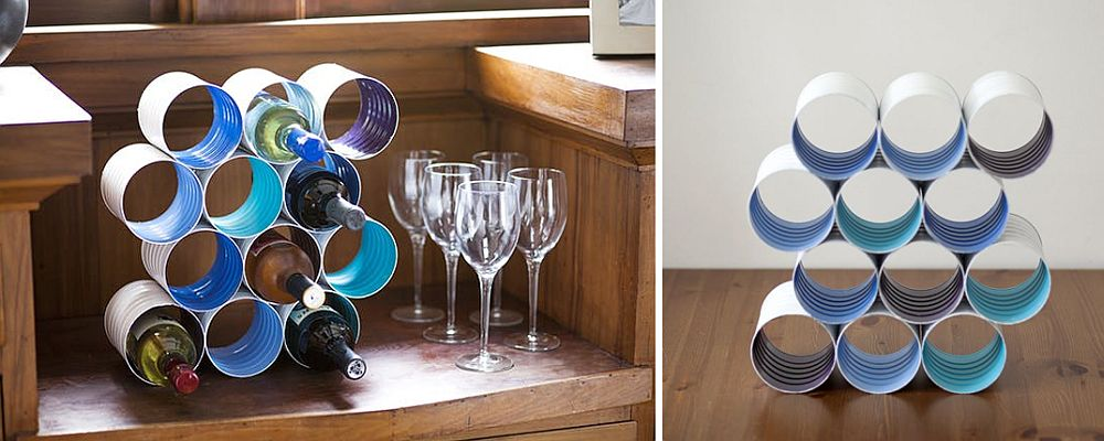 Wine-rack-crafted-from-old-coffee-cans
