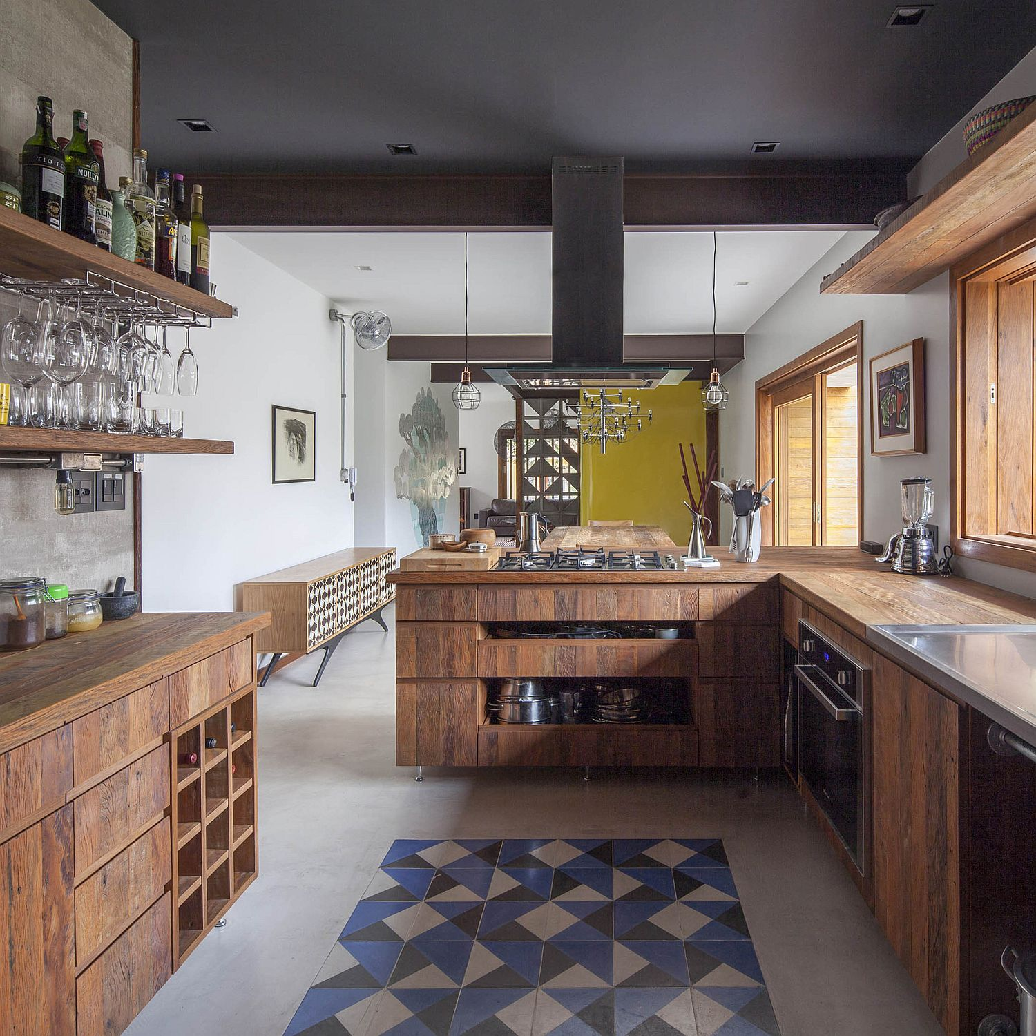 Wooden-counters-island-and-floating-shelves-for-the-small-modern-kitchen